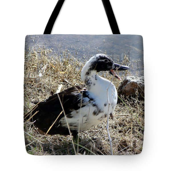Tote Bag featuring the photograph Just A Duck by Linda Cox