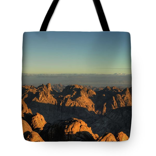 Tote Bag featuring the pyrography Just After Sunrise by Julis Simo