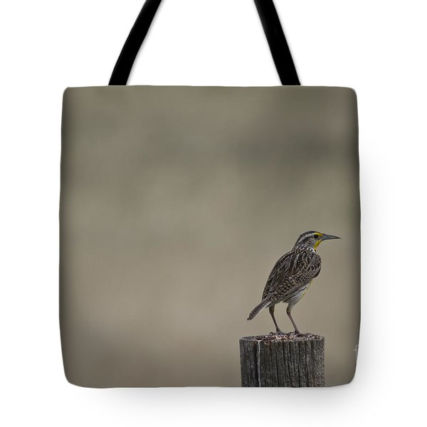 Western Meadowlark On A Fence Post Tote Bag