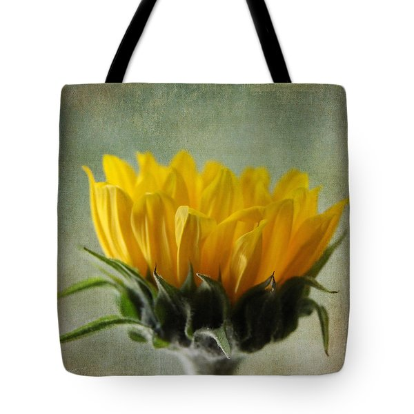 Just Opening Sunflower Tote Bag by Denyse Duhaime