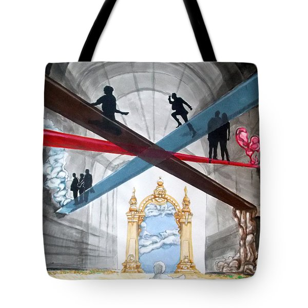 Tote Bag featuring the painting Just Paths  by Lazaro Hurtado