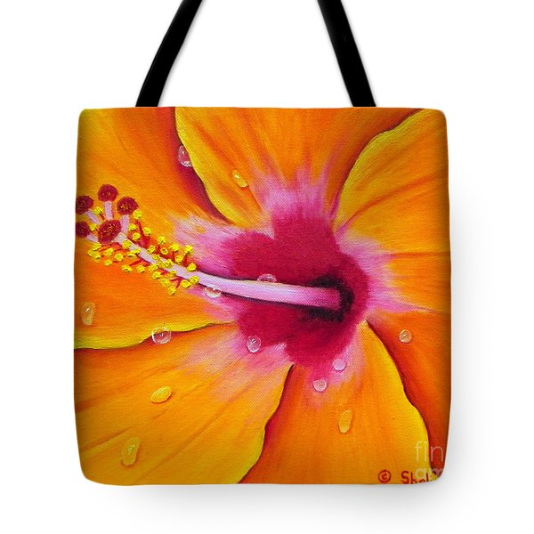 Just Peachy - Hibiscus Flower  Tote Bag