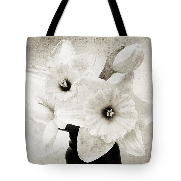 Just Plain Daffy 1 B W - Flora - Spring - Daffodil - Narcissus - Jonquil Tote Bag by Andee Design