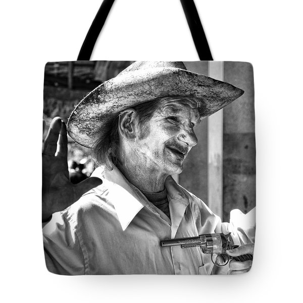 Just Shoot Me Said The Cowboy- Black And White Tote Bag by Kathleen K Parker