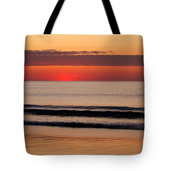 Just Showing Up Along Hampton Beach Tote Bag by Eunice Miller