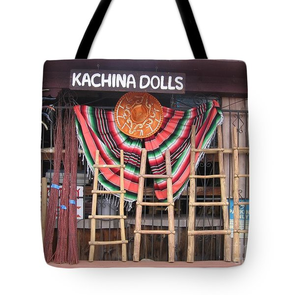 Tote Bag featuring the photograph Kachina Dolls Local Store Front by Dora Sofia Caputo Photographic Art and Design