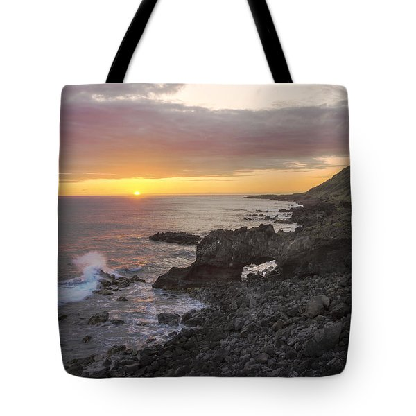 Kaena Point Sea Arch Sunset - Oahu Hawaii Tote Bag by Brian Harig