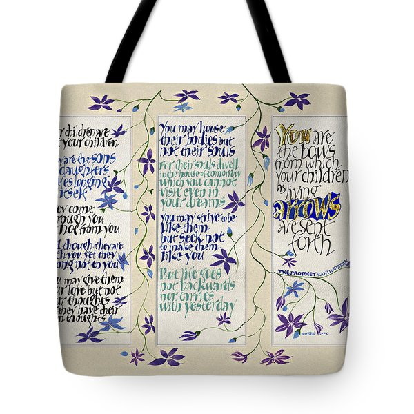 Kahlil Gibran - Children Tote Bag by Dave Wood