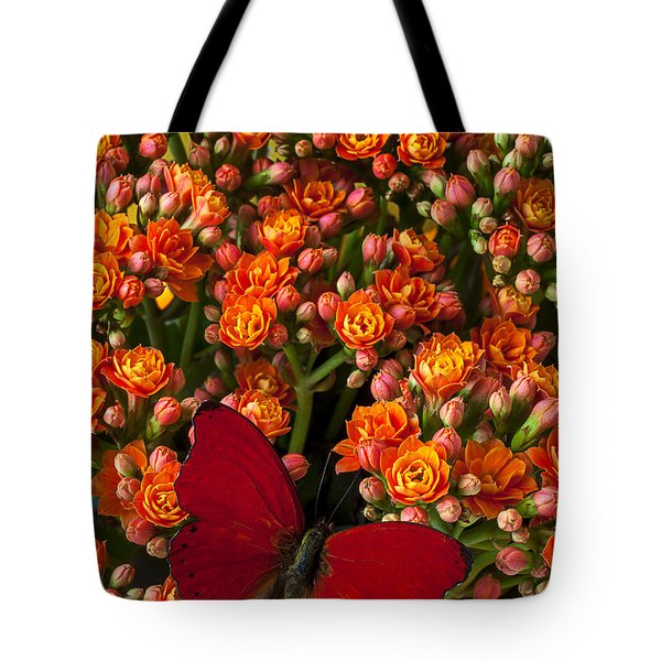Kalanchoe Plant With Butterfly Tote Bag by Garry Gay