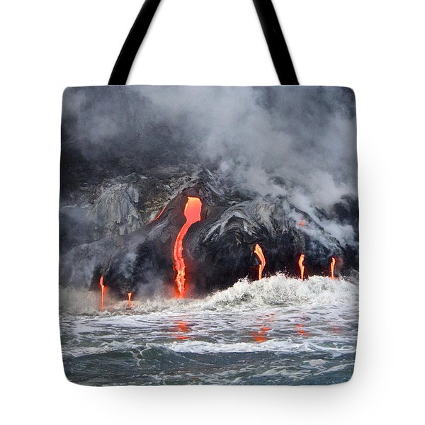 Lava Falls At Kalapana Tote Bag by Venetia Featherstone-Witty