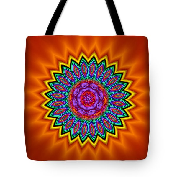 Kaleidoscope 1 Bright And Breezy Tote Bag by Faye Symons