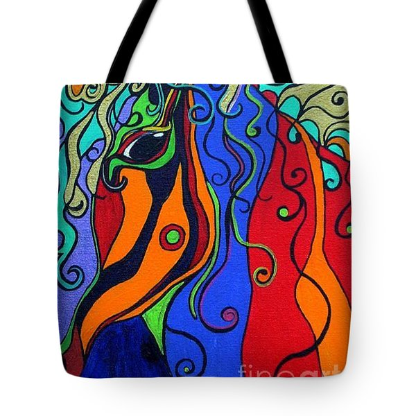 Tote Bag featuring the painting Kaleidoscope Eyes by Alison Caltrider