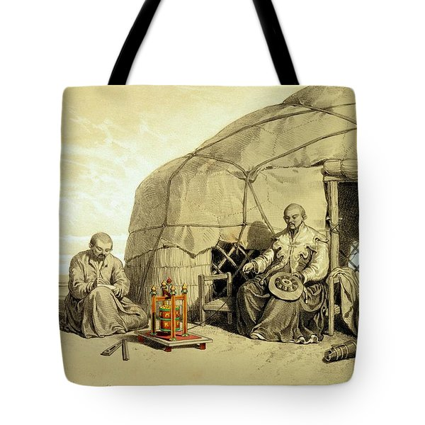 Kalmuks With A Prayer Wheel, Siberia Tote Bag by Francois Fortune Antoine Ferogio