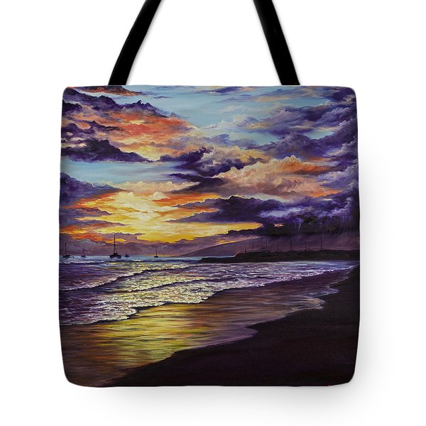 Tote Bag featuring the painting Kamehameha Iki Park Sunset by Darice Machel McGuire