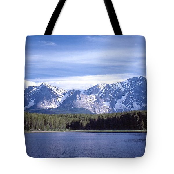 Kananaskis Mountains Lake Tote Bag by Jim Sauchyn