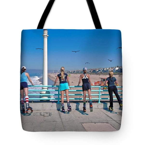 Kangaroo Shoes Girls And Birds Tote Bag by David Zanzinger