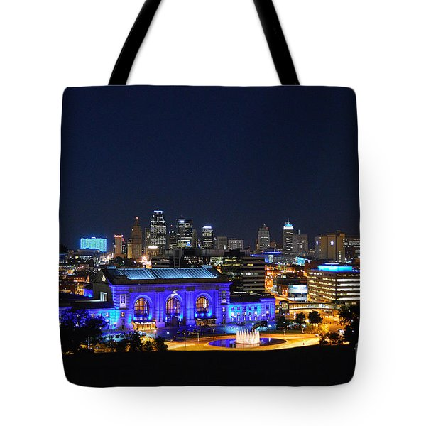 Kansas City Union Station In Blue  Tote Bag by Catherine Sherman