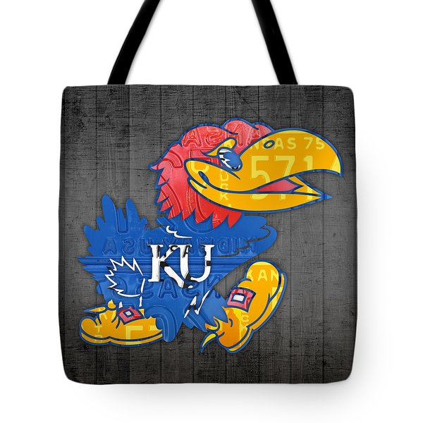 Kansas Jayhawks College Sports Team Retro Vintage Recycled License Plate Art Tote Bag by Design Turnpike