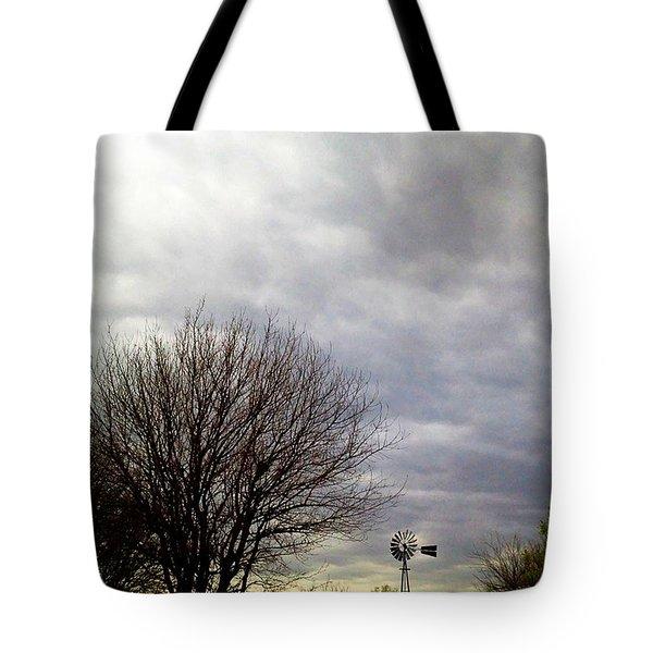 Kansas Prairie Windmill Tote Bag