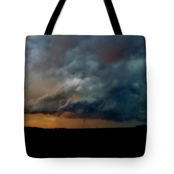 Tote Bag featuring the photograph Kansas Tornado At Sunset by Ed Sweeney