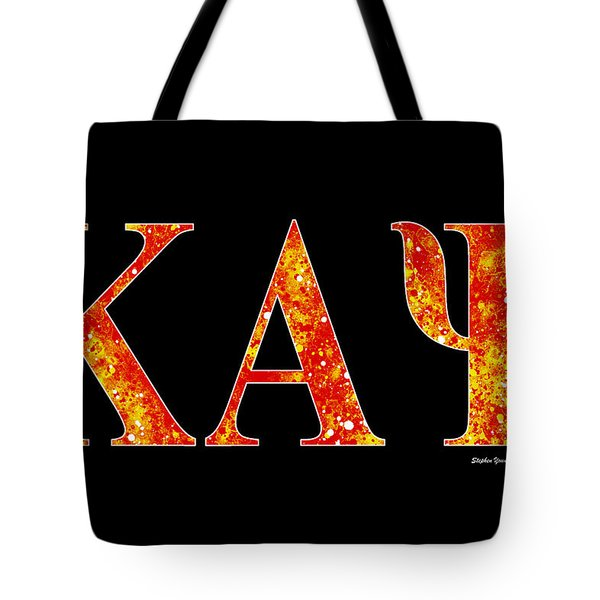 Tote Bag featuring the digital art Kappa Alpha Psi - Black by Stephen Younts