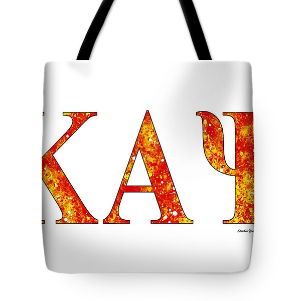 Tote Bag featuring the digital art Kappa Alpha Psi - White by Stephen Younts