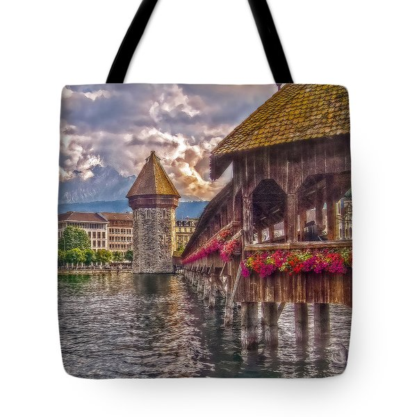Tote Bag featuring the photograph Kapellbruecke by Hanny Heim