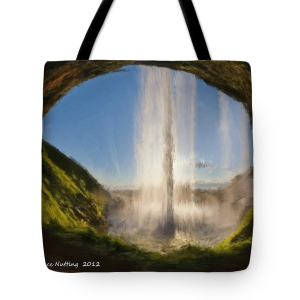 Tote Bag featuring the painting Karen's Waterfalls by Bruce Nutting