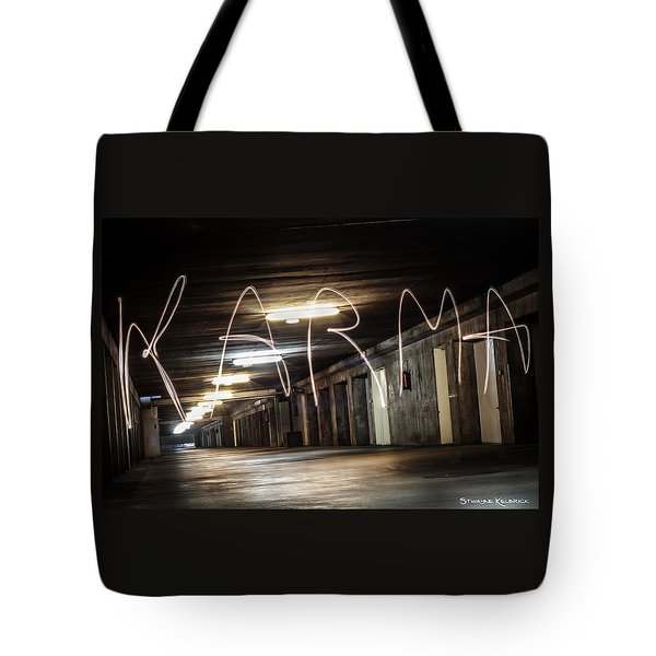 Tote Bag featuring the photograph Karma Light Painting by Stwayne Keubrick
