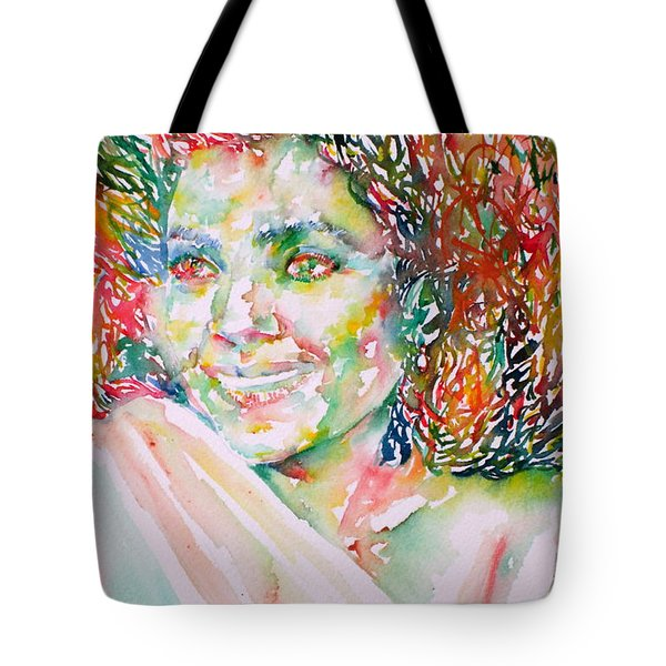 Kathleen Battle - Watercolor Portrait Tote Bag by Fabrizio Cassetta