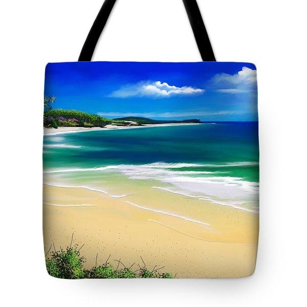 Tote Bag featuring the digital art Kauai Beach Solitude by Anthony Fishburne