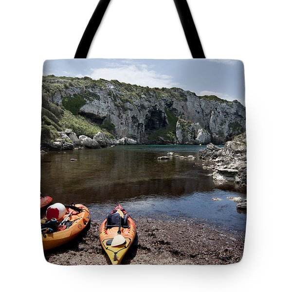 Kayak Time - The Landscape Of Cales Coves Menorca Is A Great Place For Peace And Sport Tote Bag