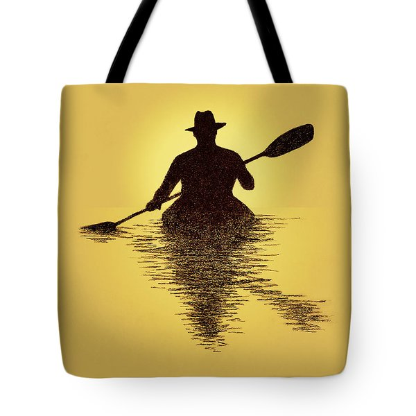 Kayaker Sunset Tote Bag