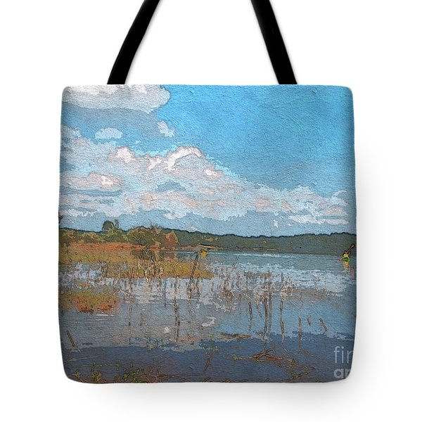 Kayaking At Lake Juliette Tote Bag
