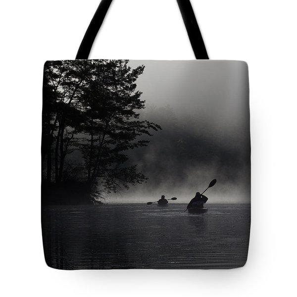 Kayaking In The Fog Tote Bag
