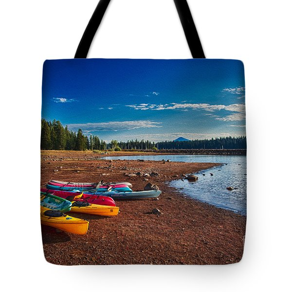 Kayaking On Howard Prairie Lake In Oregon Tote Bag