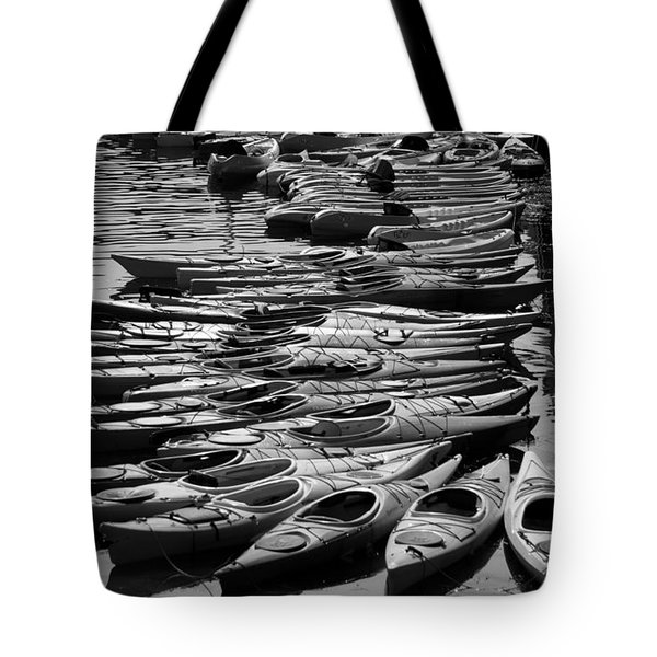 Kayaks At Rockport Black And White Tote Bag