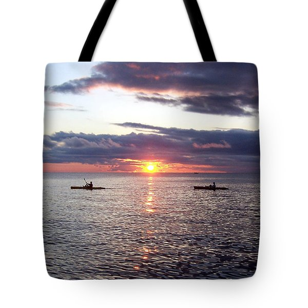 Kayaks At Sunset Tote Bag