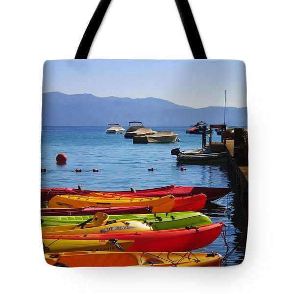Kayaks Await At Rubicon Bay Lake Tahoe Tote Bag