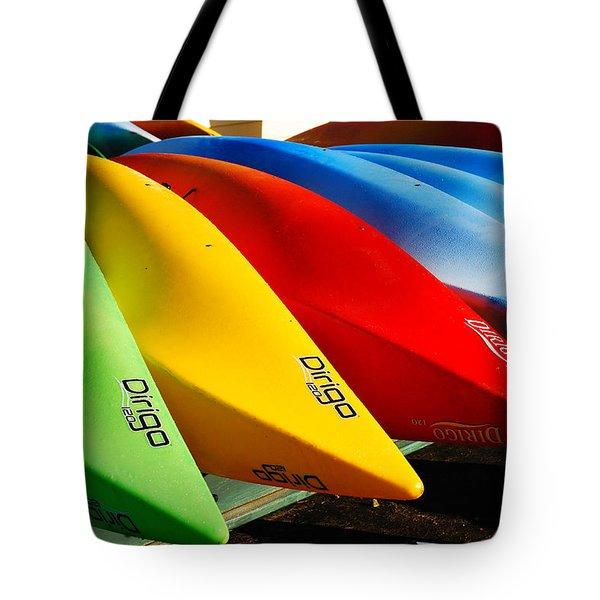 Kayaks Await Tote Bag by James Kirkikis