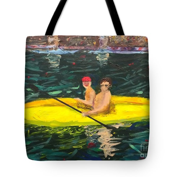 Tote Bag featuring the painting Kayaks by Donald J Ryker III