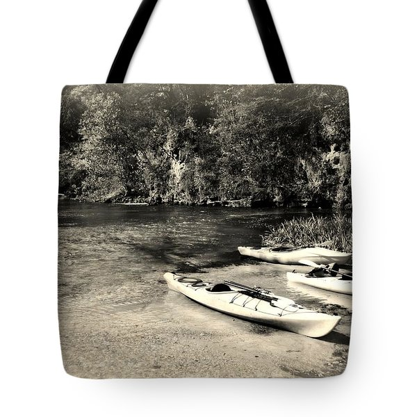 Kayaks On The Current Tote Bag by Marty Koch