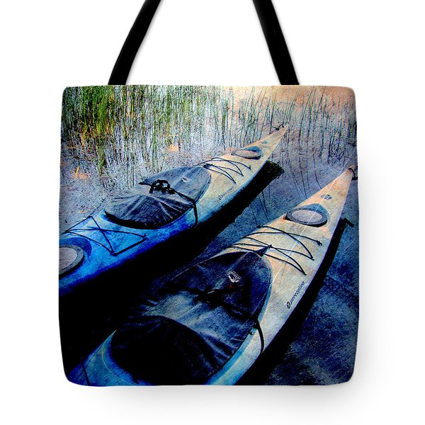 Kayaks Resting W Metal Tote Bag