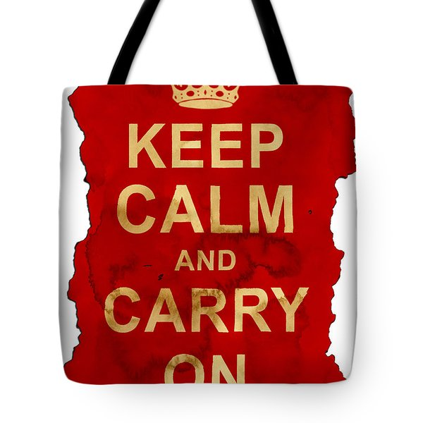 Tote Bag featuring the digital art Keep Calm And Carry On  by Nik Helbig