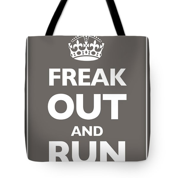 Keep Calm And Carry On Parody Brown Tote Bag by Tony Rubino
