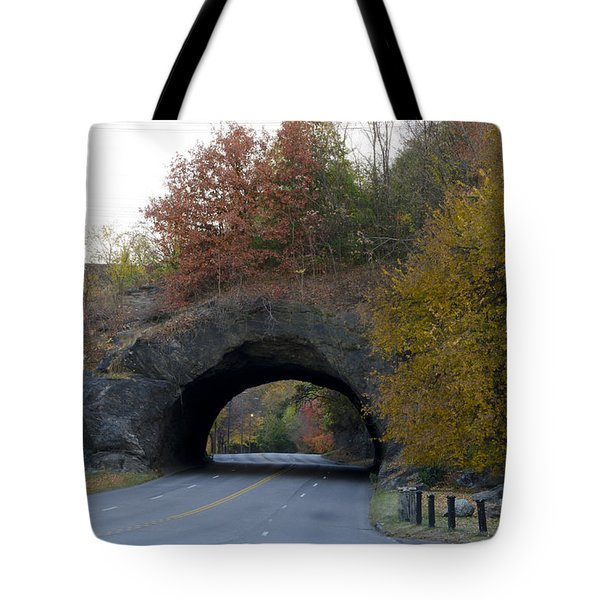 Kelly Drive Rock Tunnel In Autumn Tote Bag by Bill Cannon