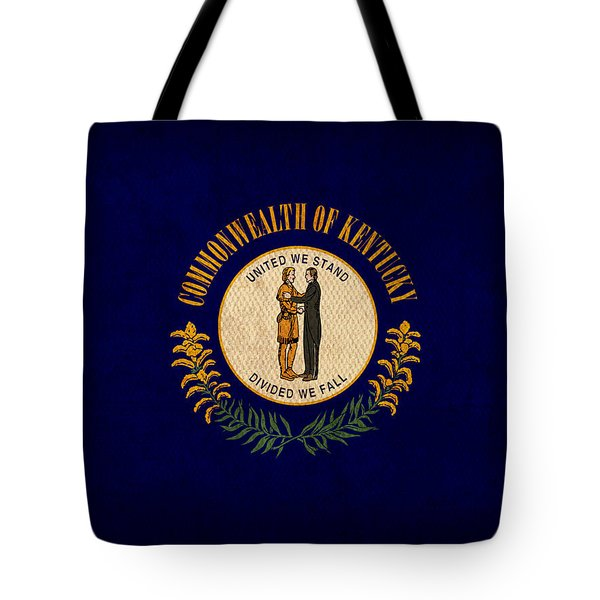 Kentucky State Flag Art On Worn Canvas Tote Bag by Design Turnpike