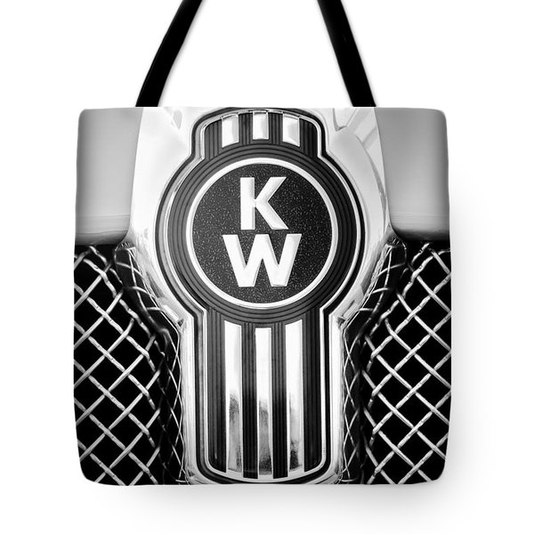Tote Bag featuring the photograph Kenworth Truck Emblem -1196bw by Jill Reger