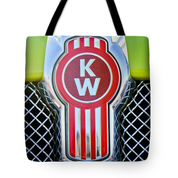 Tote Bag featuring the photograph Kenworth Truck Emblem -1196c by Jill Reger