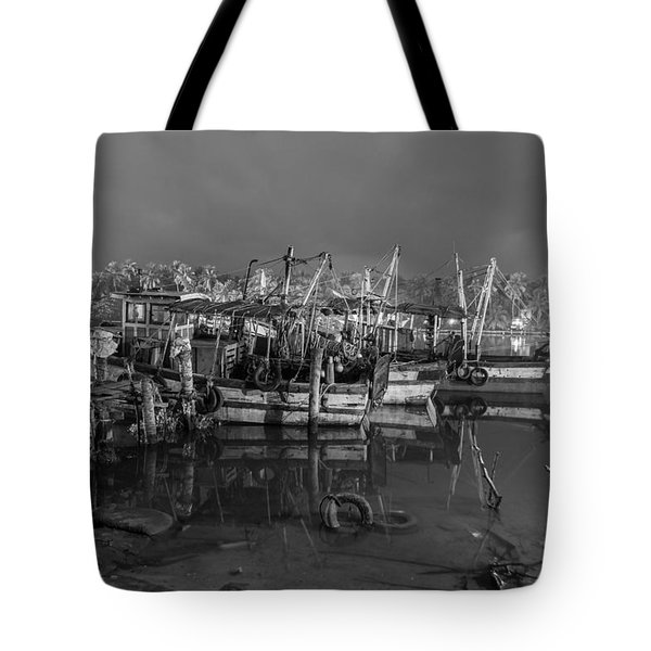 Tote Bag featuring the photograph Kerala Night Dock by Sonny Marcyan